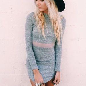 LF Long Sleeve Grey Mesh Dress